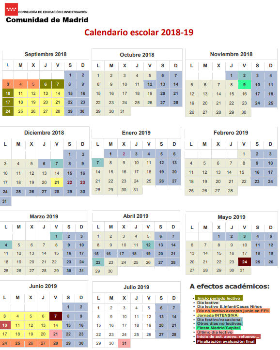 Calendario Madrid 2019.Calendario Escolar Comunidad Madrid Curso 2018 2019 Madridru Es